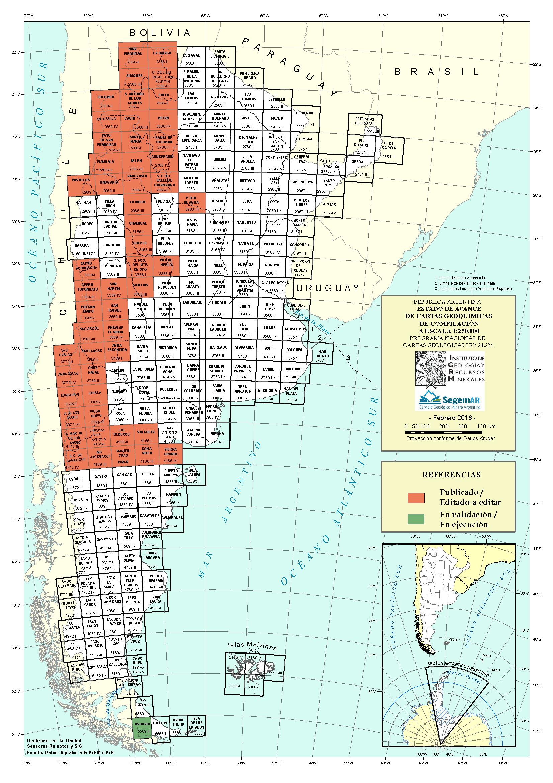 Estado actual del Programa Nacional de Cartas Geológicas y Temáticas de la República Argentina, en escala 1:250.000, Cartas Geoquímicas de Compilación