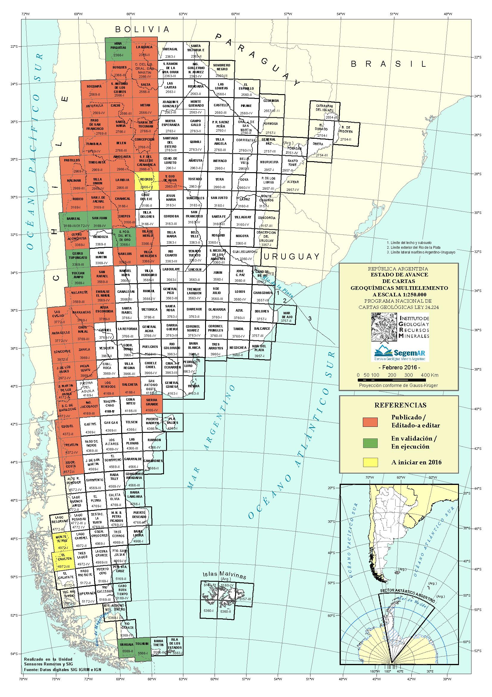 Estado actual del Programa Nacional de Cartas Geológicas y Temáticas de la República Argentina, en escala 1:250.000, Cartas Geoquímicas Multielemento